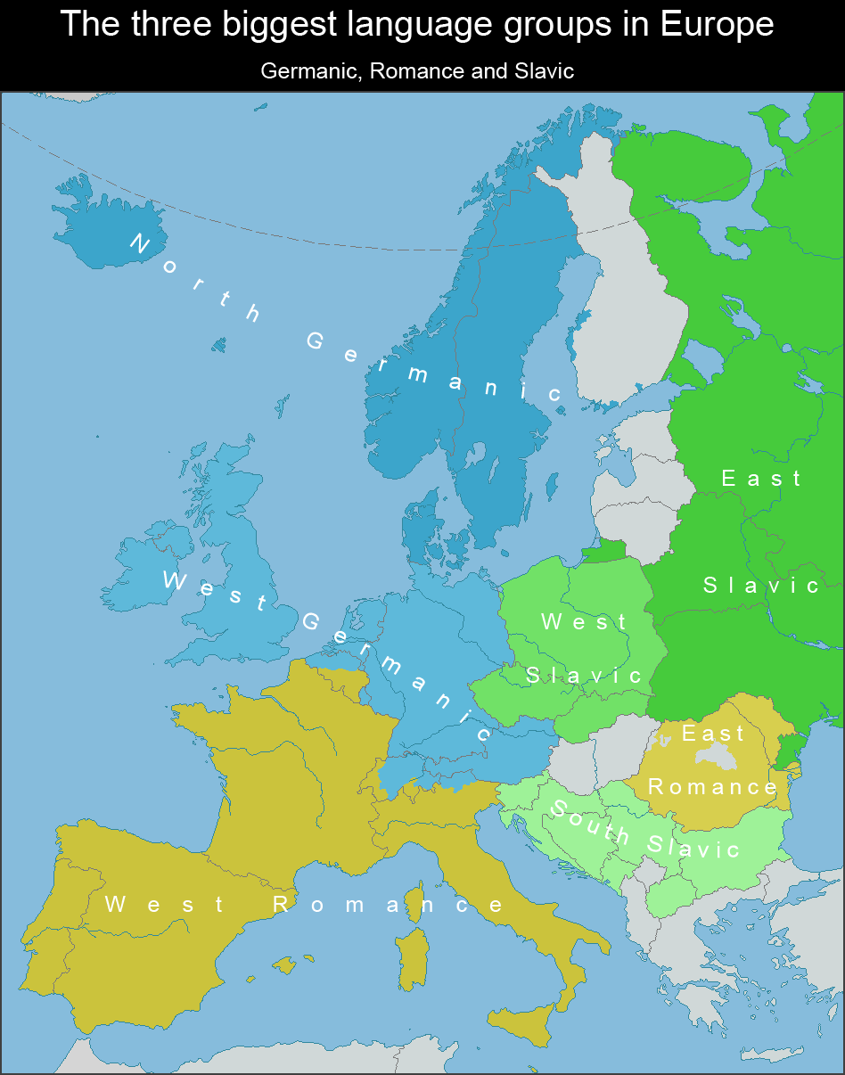 A map of the Germanic, Romance, and Slavic language groups